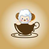 Vector del café del logotipo de las ovejas Imagenes de archivo
