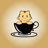 Vector del café del logotipo del gato Fotos de archivo libres de regalías