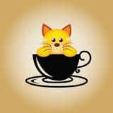 Vector del café del logotipo del gato Imagenes de archivo