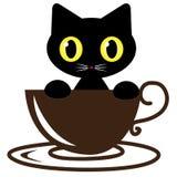 Vector del café del logotipo del gato Fotografía de archivo