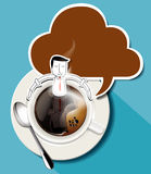 Vector del café del aroma El hombre de negocios se sienta en taza de café Imágenes de archivo libres de regalías