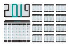 Vector del calendario 2019 stock de ilustración