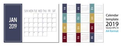 Vector del calendario del Año Nuevo 2019 en estilo simple de la tabla mínima limpia y tamaño azul del color A4 stock de ilustración