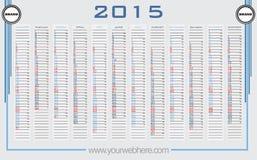 Vector del calendario de pared 2015 Imágenes de archivo libres de regalías
