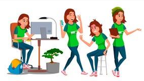 Vector del carácter de la mujer de negocios Hembra joven en diversas actitudes Vendedor adolescente In Office Clothes Diseñador,  libre illustration