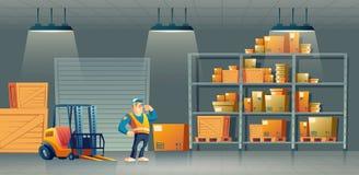 Vector del cartón del trabajador del almacén de la compañía del envío libre illustration