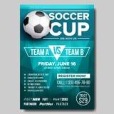Vector del cartel del fútbol Requisito del balompié ball Diseño para la promoción de la barra de deporte Torneo, diseño del aviad ilustración del vector