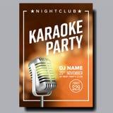 Vector del cartel del Karaoke Estudio del Karaoke del vintage Expediente del Musical Objeto de la difusión Estilo de la comunicac stock de ilustración