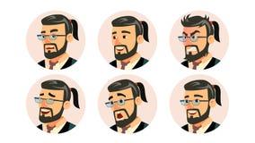 Vector del CEO Character Business People Avatar de Boss Oficina moderna Boss barbudo Man Face, emociones fijadas placeholder libre illustration