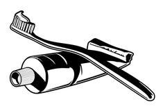 Vector del cepillo de dientes y de la crema dental Imagen de archivo libre de regalías