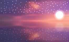 Vector del cielo durante puesta del sol ilustración del vector