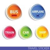 Vector del color de la etiqueta engomada del viaje Fotografía de archivo