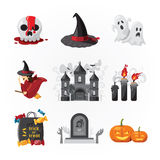 Vector del color del diseño de los iconos de Halloween Imagen de archivo