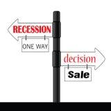 Vector del color del letrero de la recesión o de la decisión Fotos de archivo