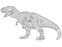 Vector del colorante del Tyrannosaur para los adultos Imágenes de archivo libres de regalías