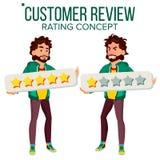 Vector del comentario del cliente Usuario feliz e infeliz del hombre Comentario positivo, negativo Mensajes de los certificados P libre illustration