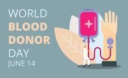Vector del concepto del día del donante de sangre del mundo ilustración del vector