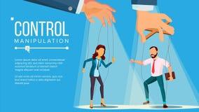 Vector del concepto de la marioneta Mano de manejo grande de la manipulación empleado Trabajador en cuerdas Injusto usando histor libre illustration