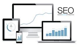 Vector del concepto de la optimización del Search Engine (SEO) Fotografía de archivo libre de regalías