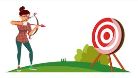Vector del concepto del ganador del logro Tiroteo de la mujer de negocios de un arco en una blanco Logro objetivo, logro stock de ilustración
