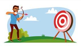 Vector del concepto del logro Hombre de negocios Shooting From un arco en una blanco Logro objetivo, logro Historieta plana Imagen de archivo