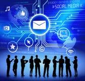 Vector del concepto social de Media Communication del negocio stock de ilustración