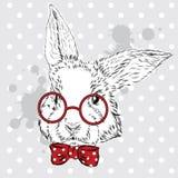 Vector del conejo Dibujo de la mano del animal impresión Inconformista Conejito de la acuarela Postal de la vendimia Muchacho stock de ilustración