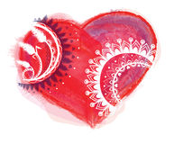 Vector del corazón de la acuarela con el ornamento Foto de archivo
