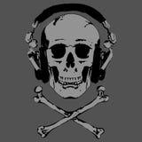 Vector del cráneo y de los auriculares stock de ilustración
