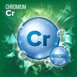 Vector del cromo del Cr Icono azul mineral de la píldora Icono de la píldora de la cápsula de la vitamina Sustancia para la belle stock de ilustración