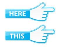 Vector del cursor de la mano del ratón etiquetas de este aquí indicador Fotografía de archivo libre de regalías