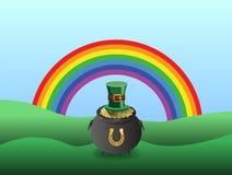 Vector del día de los patricks del St con la mina de oro y el arco iris stock de ilustración