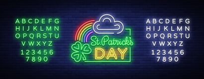 Vector del día de los patricks del St Señal de neón, logotipo, símbolo de la invitación, tarjeta de felicitación, postal Diseñe u ilustración del vector