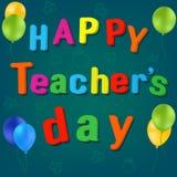 Vector del día del ` s del profesor de la mochila de la escuela de los globos feliz libre illustration