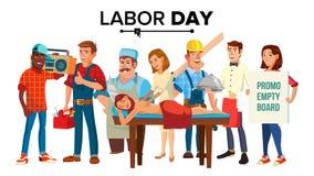 Vector del Día del Trabajo Grupo de personas Colección del empleado Ejemplo aislado plano de la historieta stock de ilustración