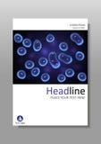 Vector del deisgn de la cubierta A4 Cultivo celular azul del núcleo Fotos de archivo