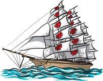 Vector del dibujo de la nave de Columbus Fotografía de archivo