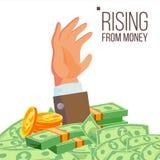 Vector del dinero de Hand Rising From del hombre de negocios Ejemplo plano aislado Fotos de archivo libres de regalías