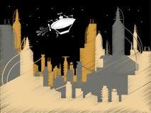 Vector del dirigible no rígido del vuelo de la ciudad de la ciencia ficción del garabato Fotos de archivo