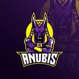 Vector del diseño de la mascota del logotipo de Anubis con el estilo moderno del concepto del ejemplo para la impresión de la ins stock de ilustración