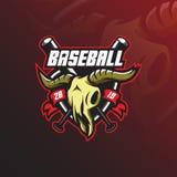 Vector del diseño de la mascota del logotipo del béisbol con el estilo moderno del concepto del ejemplo para la impresión de la i libre illustration