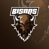 Vector del diseño de la mascota del logotipo del bisonte con el estilo moderno del concepto del ejemplo para la impresión de la i ilustración del vector