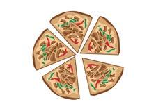 Vector del diseño de la pizza de la rebanada stock de ilustración