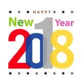 Vector 2018 del diseño de la tipografía del texto de la tarjeta de felicitación de la Feliz Año Nuevo de la Feliz Navidad Fotografía de archivo