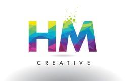 Vector del diseño de los triángulos de HM H M Colorful Letter Origami Fotos de archivo libres de regalías