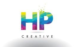 Vector del diseño de los triángulos de la papiroflexia de HP H.P. Colorful Letter Imagen de archivo libre de regalías