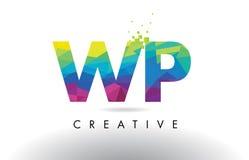 Vector del diseño de los triángulos de la papiroflexia del WP W.P. Colorful Letter Foto de archivo