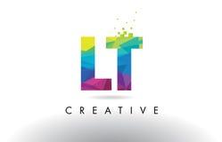 Vector del diseño de los triángulos de LT L T Colorful Letter Origami Fotografía de archivo