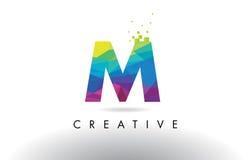Vector del diseño de los triángulos de M Colorful Letter Origami Fotografía de archivo libre de regalías