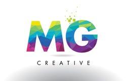 Vector del diseño de los triángulos de MG M G Colorful Letter Origami Imagenes de archivo